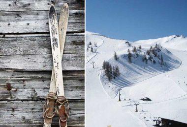 vieux skis, montagne enneigée